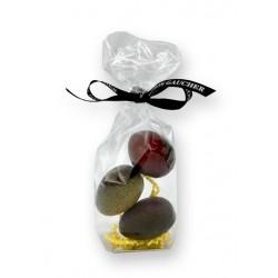 3 oeufs en chocolats noir, lait et caramel -  packaging - Maison Gaucher Chocolatier