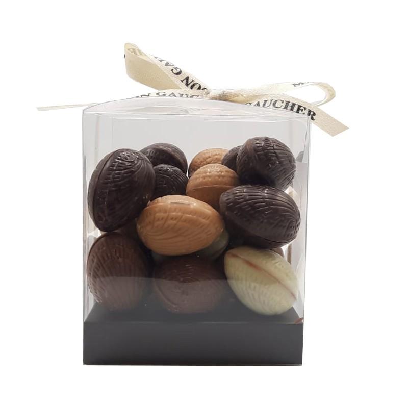 Cube œufs fondants à la noisette chocolat noir, lait, blanc et caramel - packaging - Maison Gaucher Chocolatier