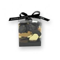 Fritures chocolat noir, lait, blanc et caramel - packaging - Maison Gaucher Chocolatier