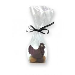 poule chocolat noir sur un lit de 5 œufs - Maison Gaucher Chocolatier